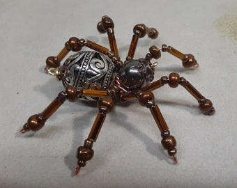 Small Steampunk Silver Metal Beaded Spider