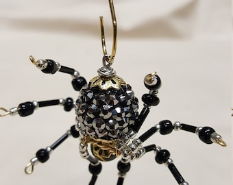 Small Steampunk Black Jeweled Beaded Spider