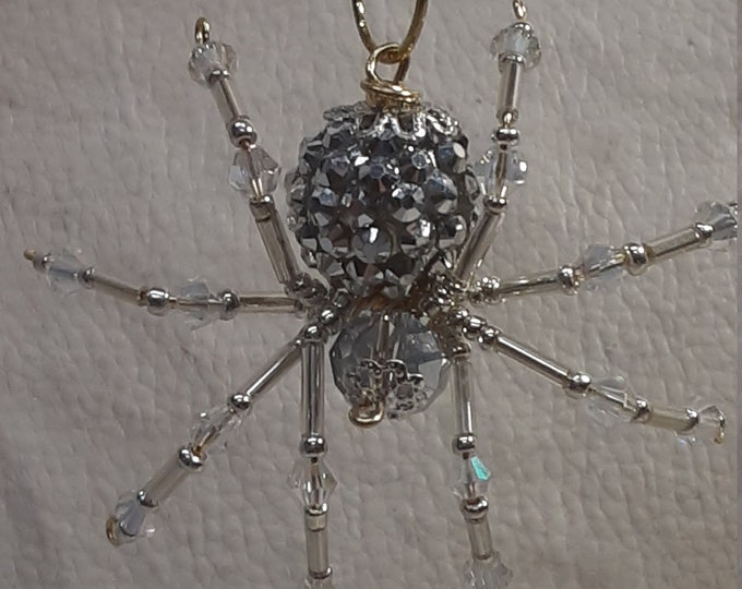 Steampunk/Christmas Silver Jeweled Beaded Spider