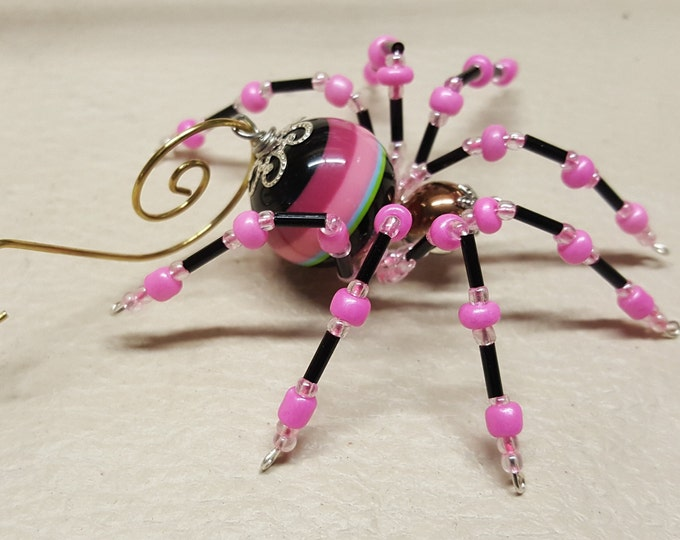 Steampunk Black, Pink and Teal Striped Beaded Spider