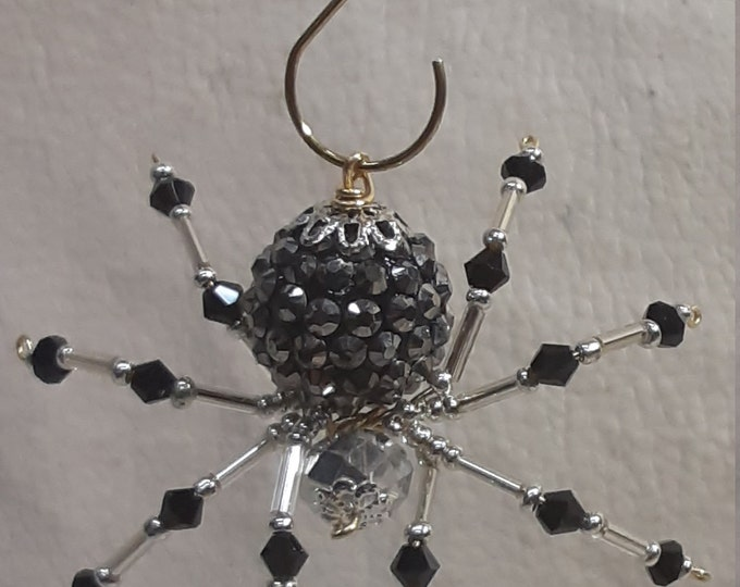 Steampunk/Christmas Black Jeweled Beaded Spider