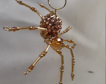 Steampunk/Christmas Rose Gold Jeweled Beaded Dew Drop Spider