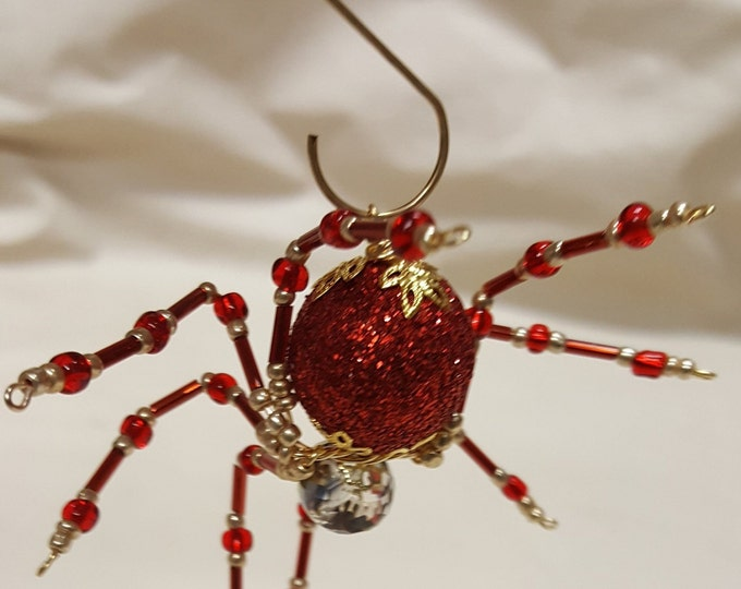 Steampunk Beaded Red Christmas Spider