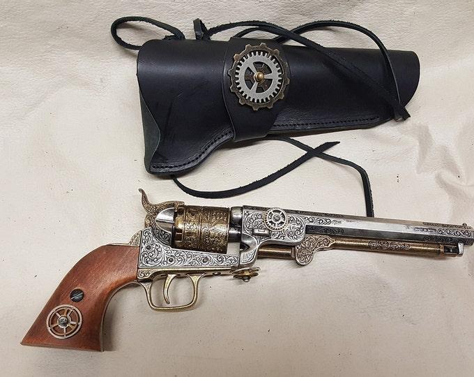 Steampunk 1851 Colt Navy Non-Firing Revolver w/Holster