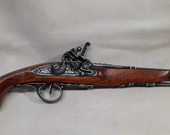 18th Century Non-Firing Aged English Dueling/Pirate's Flintlock Pistol Replica
