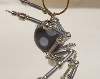 Steampunk Beaded Gray/White Dimpled Spider