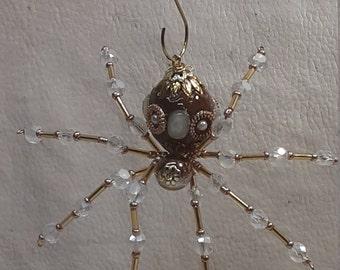 Christmas Ceramic Bead/ Caramel Spider w/Glass Faceted Leg Beads