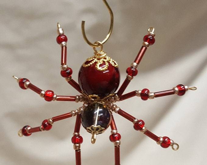 Small Steampunk Beaded Blood Red Spider