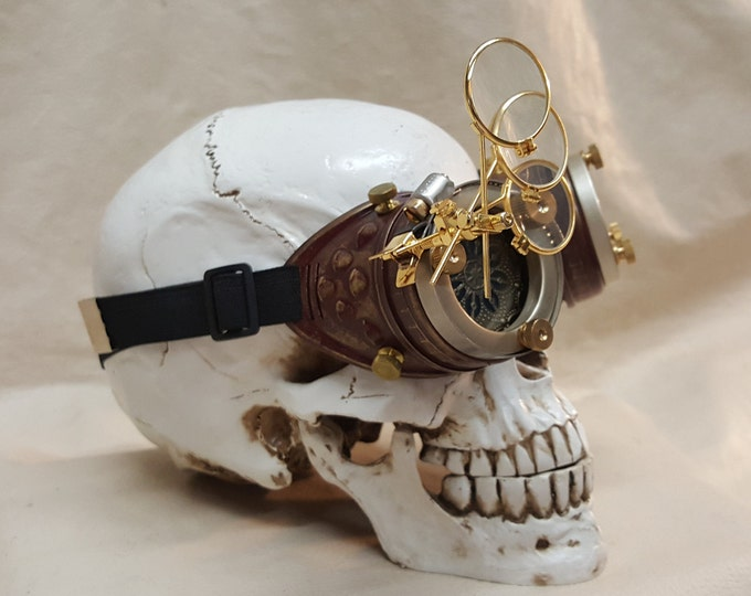 Steampunk Burgundy Engineer Goggles With Magnifying Jewelers Loupes