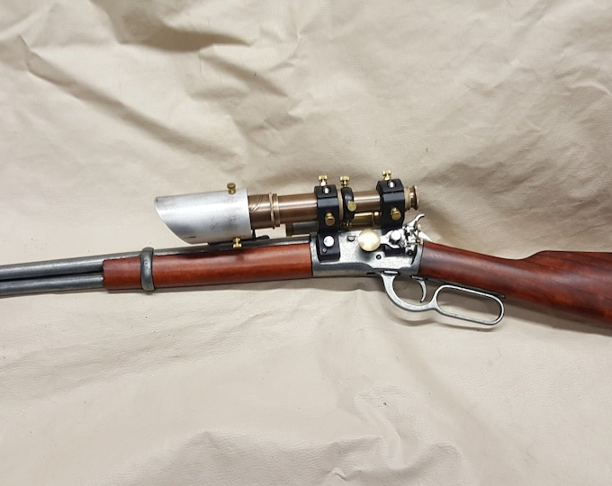 1892 Steampunk Winchester Lever Action Carbine Rifle Non Firing Replica W/Double Scope