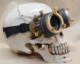 Blue Steampunk Engineer Goggles With Filigree