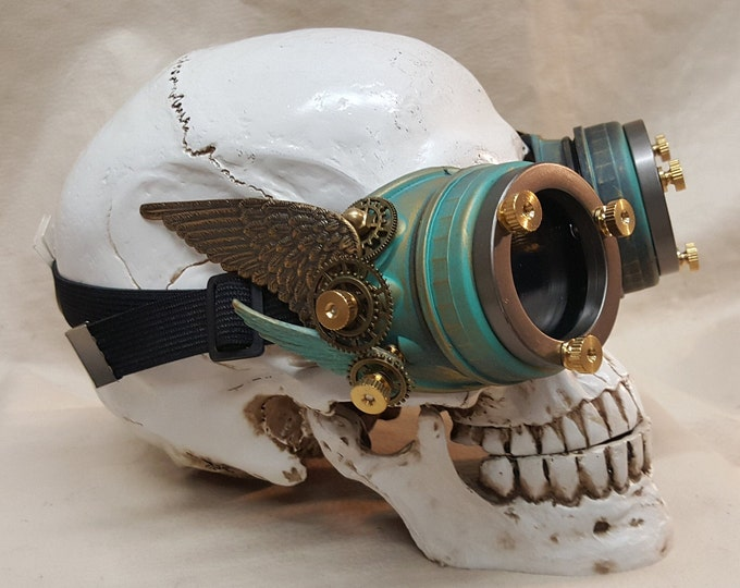 Steampunk Double Winged Patina Brass Valkyrie Goggles