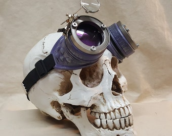 Purple Steampunk Engineer Goggles With Magnifying Loupe