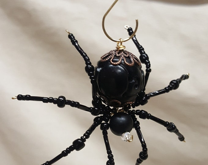Steampunk Beaded Black Spider