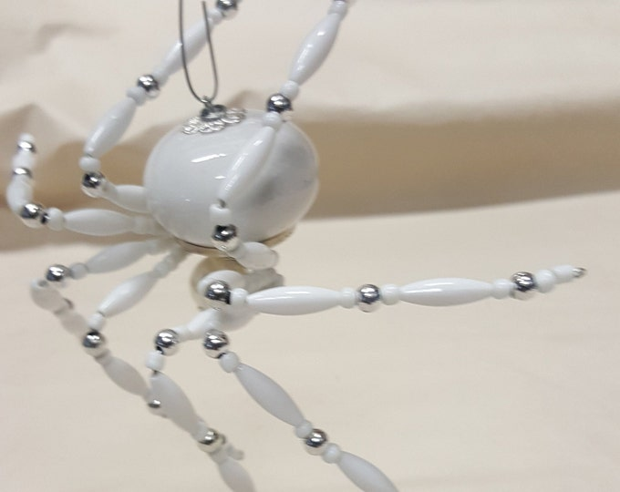 Extra Large Steampunk White Widow Ceramic Beaded Snow Spider