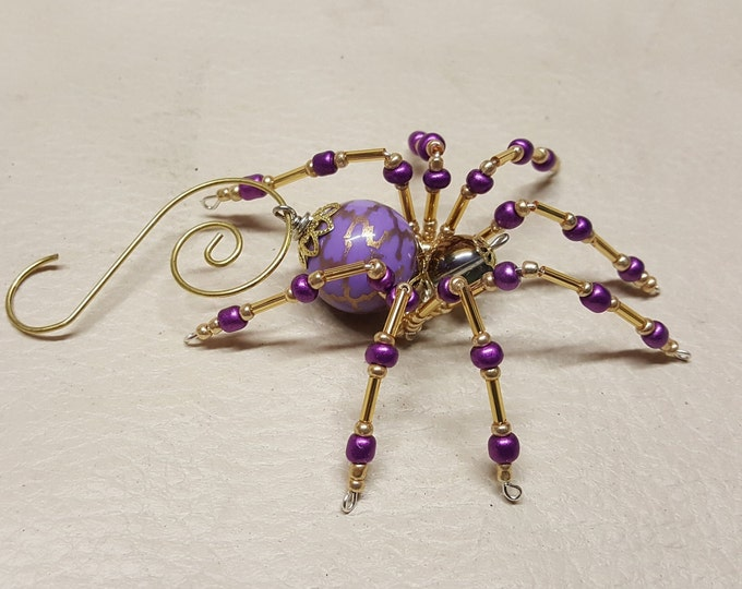 Steampunk Crystalline Beaded Purple Spider