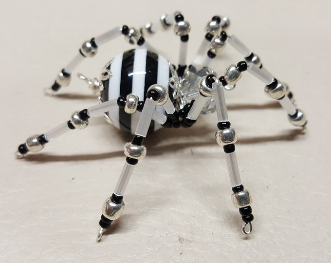Steampunk Crystalline Black/White Striped Spider