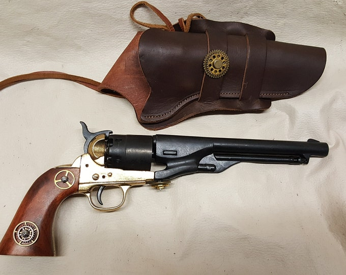 Steampunk 1860 Colt Army Non-Firing Revolver w/Holster