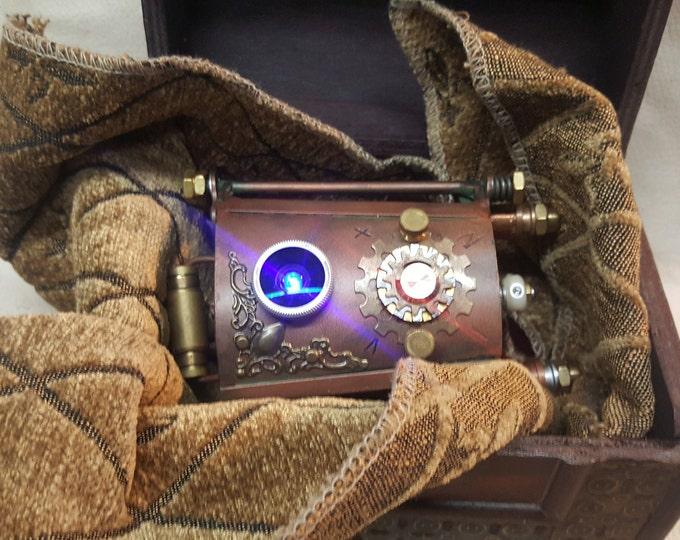Steampunk Vortex Manipulator With Wooden Steampunk Box