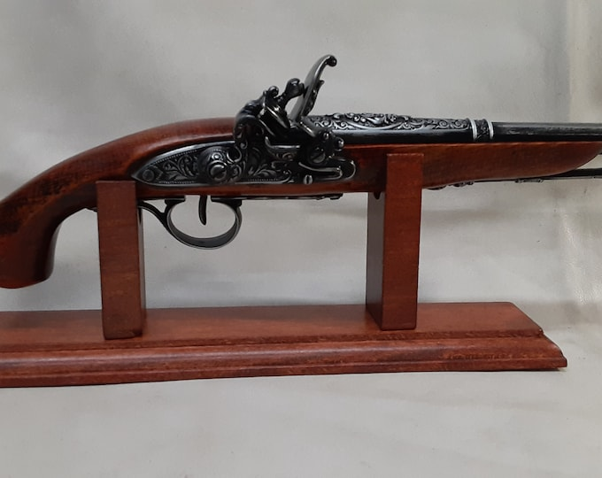 Steampunk Style 18th Century Aged English Dueling/ Pirates Non Firing Flintlock with Stand