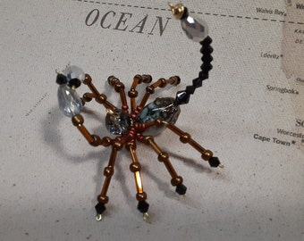 Steampunk Beaded Crystalline Copper Scorpion