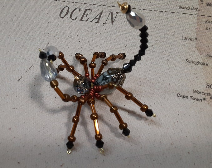 Steampunk Beaded Crystalline Copper Scorpion