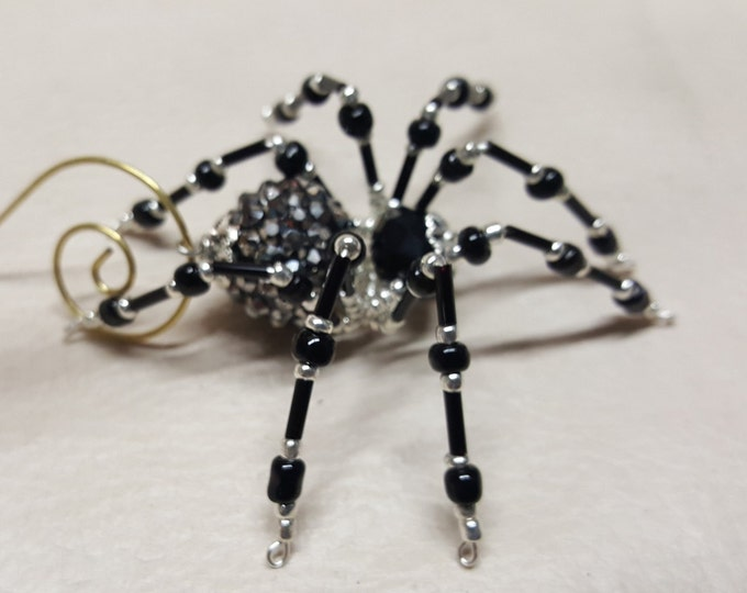 Steampunk Black Jeweled Beaded Spider