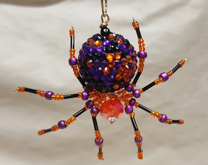 Steampunk Beaded Orange and Purple Opalescent Be-Jeweled Halloween Spider