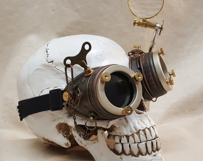 Steampunk Engineer Goggles With Large Magnifying Loupe
