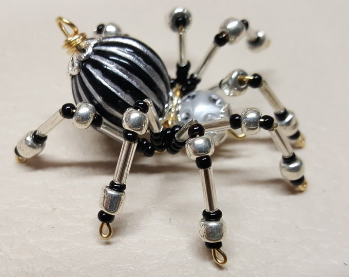 Small Steampunk Beaded Black/Silver Striped Spider
