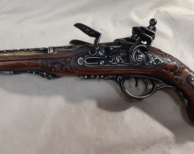 Steampunk Style 19th Century Aged Napoleonic Double Barrel Flintlock