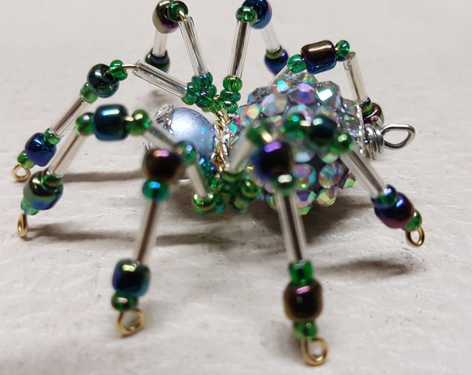 Small Steampunk Opalescent Jeweled Beaded Spider
