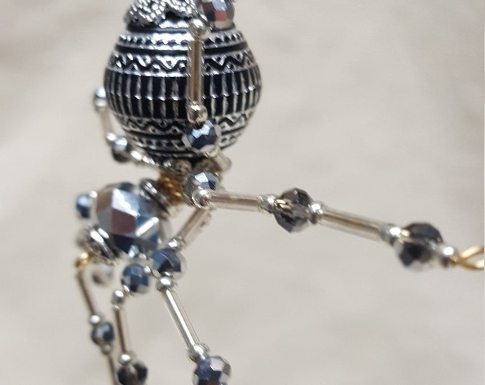 Christmas Silver Beaded Dew Drop Ornament Spider
