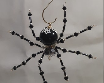 Steampunk Beaded Large Crystalline Black Spider
