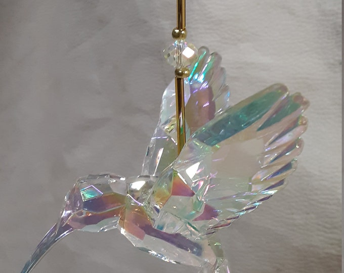 Gold Themed Crystal Hummingbird Sun Catcher in 3 Different Colors