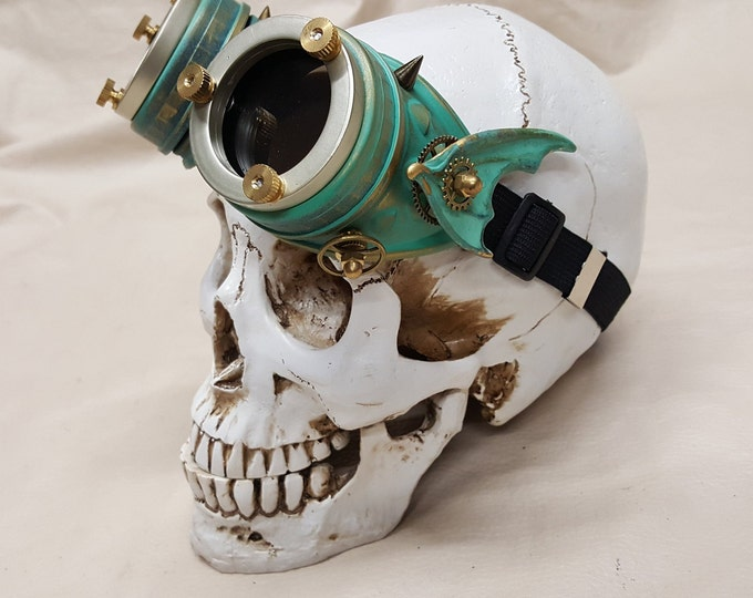 Steampunk Brass Patina Engineer Goggles- Demon Spawn
