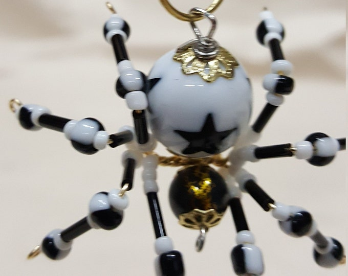 Small Steampunk White Star Beaded Spider