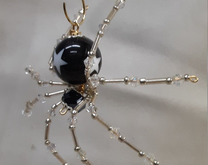 Steampunk/Christmas Black Star Beaded Dew Drop Spider