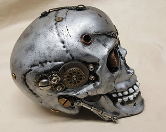 Steampunk Terminator T-4 Battle Damaged Skull
