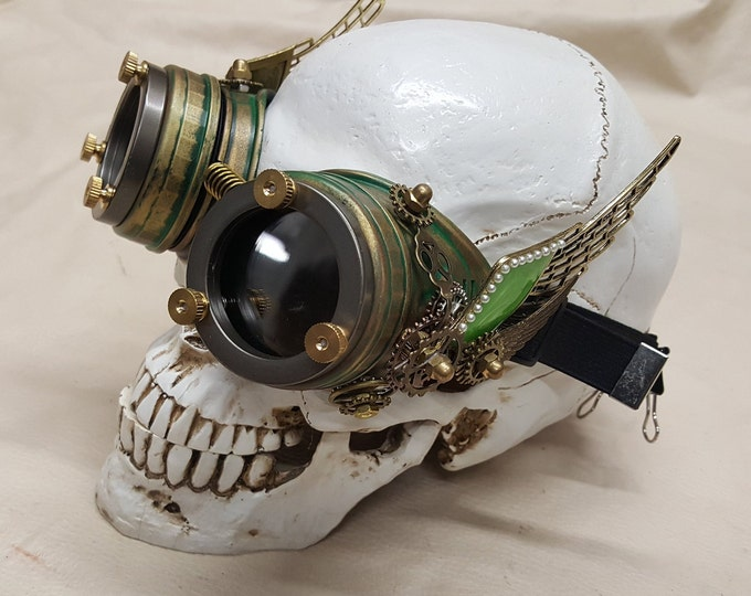 Steampunk Double Winged Green Valkyrie Goggles