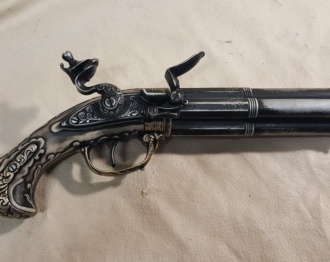 Steampunk Style 18th Century Aged French Four Barrel Flintlock