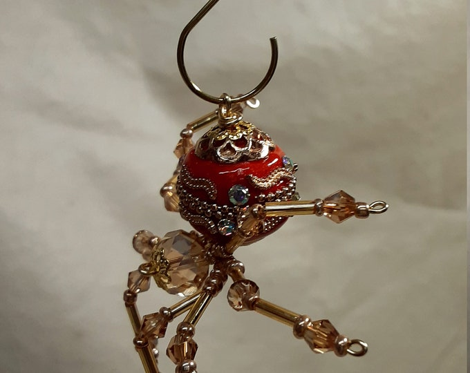 Steampunk Ceramic Beaded Red and Gold Christmas Spider