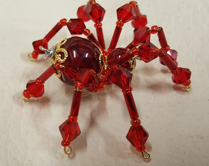 Small Steampunk Beaded Blood Red Spider w/Glass Faceted Leg Beads
