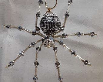 Christmas/Steampunk Metallic Silver Beaded Dew Drop Spider