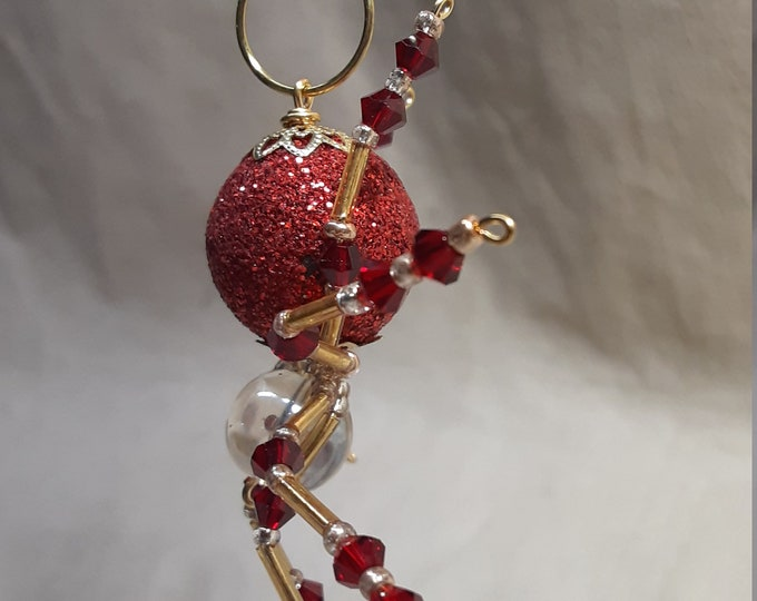 Beaded Red Christmas Ornament Spider