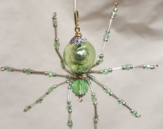 Steampunk/Christmas Crystalline Green Dew Drop Translucent Ice Spider