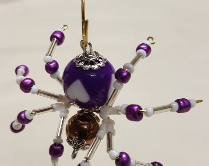 Small Steampunk Beaded Purple Heart Spider
