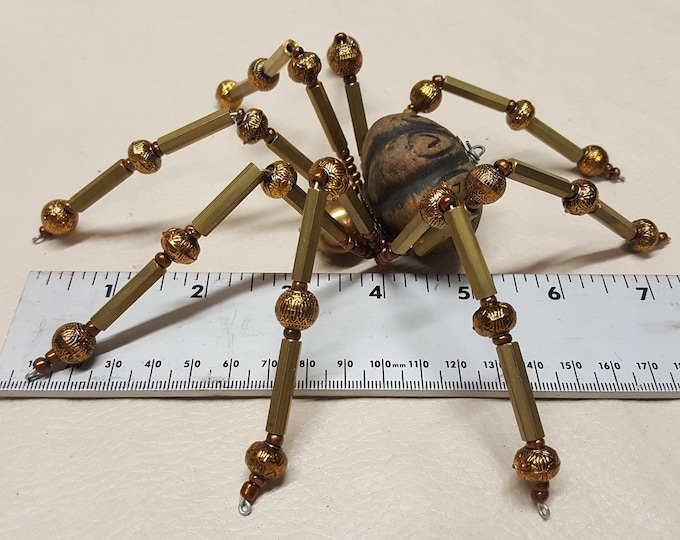 Extra Large Steampunk Brass and Ceramic Beaded Barn Spider