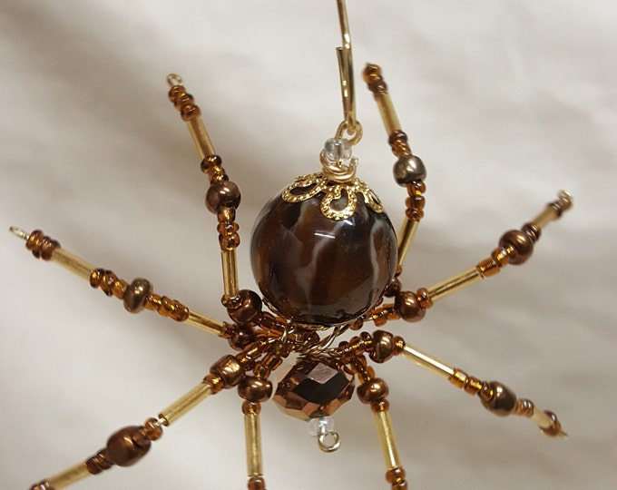 Steampunk Beaded Brown and Gold Spider