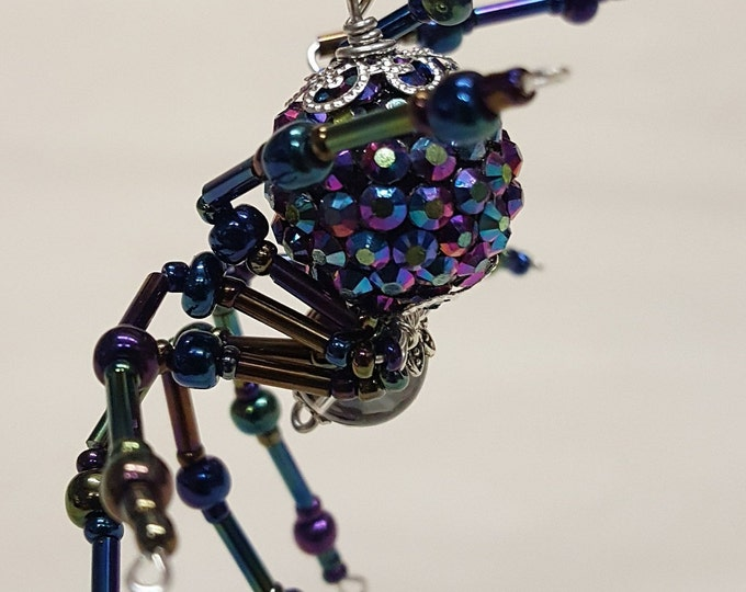 Steampunk Opalescent Jeweled Beaded Spider